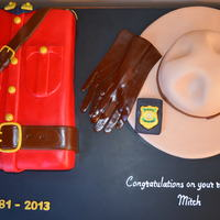 Rcmp Retirement Cake: Red Serge, Stetson, Gloves & Badge Red Serge and Stetson are both vanilla cake and vanilla frosting covered with home made mmf. The sheen of the gloves and Sam Brown was...