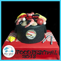 Seafood Bake Cake We created this cake for the Garden State Underwater Recovery's annual seafood bake! The cake is a picnic table with gingham print...