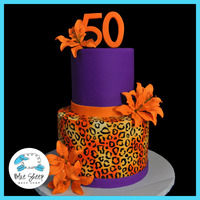 Purple Tiger Lily 50Th Birthday Cake Bottom Tier Was Covered In Ivory And Airbrushed Then Hand Painted Purple tiger lily 50th birthday cake, bottom tier was covered in ivory and airbrushed then hand painted.