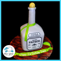"Patron Silver Birthday Cake For this cake we baked a 6"" square and rounded the top, then covered a Wilton dowel support with modeling chocolate. We covered the..."