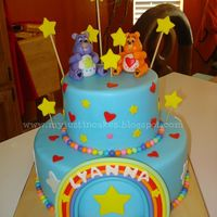 Beautiful Color Cake Made With Fondant Every Care Bear Are Edible   Beautiful color cake made with fondant, every care bear are edible =)