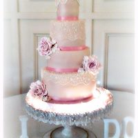 """pretty In Pink"" Wedding Cake"