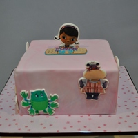 Doc Mcstuffins Themed Birthday Cake This was another quick cake I made for my daughter to share at her Day Care. Fondant cutouts with edible prints.