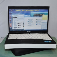 Laptop + Laptop Sleeve Cake Made for a surprise 40th. I used foam core board for the screen and inserted skewers (had to deliver cake so was not gonna risk having a...