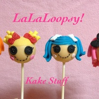 Four Characters Of Lalaloopsy Made Into Cake Pops Confetti Cake Fondant And Chocolate Details Four characters of LaLaLoopsy made into cake pops! Confetti cake, fondant and chocolate details!