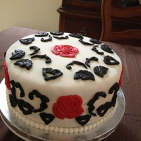 Black White And Red Small Wedding Cake.