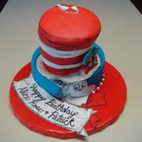 "Cat In The Hat  This cake was made for twins turning 2 years old! This is one of my favs thus far. It was so fun to make! I carved the hat from a 6""..."