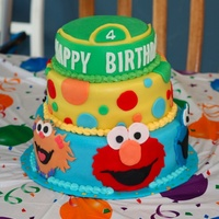 Sesame Street Sesame Street cake for a little girl turning four. The cake is all fondant. Characters were cut out by hand. Tons of fun to do!!