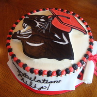 Panther Graduation Cake  I made this for a senior boy graduating from high school. His school mascot was a Panther so I played around with the image and added a...