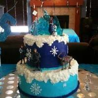 "Frozen Themed Cake 8 And 12 Rounds Covered With Yummy Vanilla Buttercream This Is My First Big Cake That I Didnt Cover With Fondant Frozen themed cake -- 8"" and 12"" rounds covered with yummy vanilla buttercream. This is my first big cake that I didn't..."