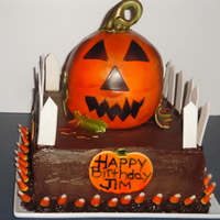 Halloween Birthday Cake Orange Brown Fence Candy Corn