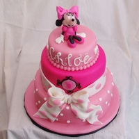 Minnie Mouse Cake   3-tier pink cake with minnie mouse