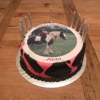 Horse Picture Cake Here is a birthday cake I made for my friends birthday party. I ordered the picture for a website that prints edible pictures and it worked...