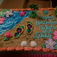 My Beachy Cake This is an ice cream cake I made for work. The sand is graham cracker pie crust, the water is blue piping gel, the seashells are white...