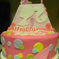 Mattie's Barbie Cake Buttercream Cake with fondant accents. The purse is foam covered in fondant.