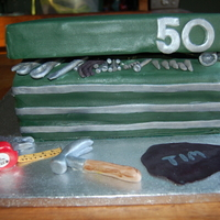 Toolbox Cake 50th b day cake for my husband who is a mechanic and has a green toolbox at work.