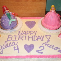 Ariel And Aurora Princess Cake 2 Birthdays, 1 cake, 2 Happy girls. Mini wonder mold cakes for the princess skirt and shell allowed for individual cakes for the girls.