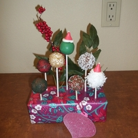 Bite Sized Christmas Joy   Cake Pops made from Gingerbread or Chocolate cake all wrapped up and ready to go.