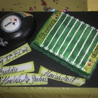 Pittsburgh Steelers Football And Football Field Cake