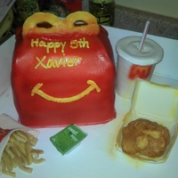 3D Mcdonald's Chicken Nuggets Happy Meal   MC Chicken Nuggets and Fries, Gumpaste Nugget Box, Cup, and Fry Bag. All Edible