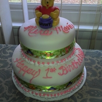 2-Tier Winnie The Pooh Birthday Cake   Fondant and Edible Winnie the Pooh Topper
