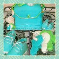 Baby Shower Cakes   My Very 1st 3D Cake...Baby Boy Diaper Bag Cake with Booties, Keys, Pacifier, Wipes, and Diapers made by: Arlena M. McCoy 10/29/2010