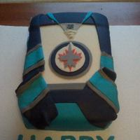 Winnipeg Jets Jersey 9x13 decorated with fondant and gumpaste.
