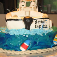 Nothin Fansea Boat cake, details made of MMF and gumpaste, Boat is Chocolate cake with whipped mocha filling, covered in buttercream and MMF. Cake is...