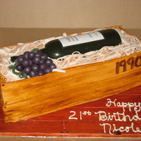 Wine Bottle Crate For 21St Birthday MMF covered cake board, stained to look like wood grain. Red velvet cake with cream cheese frosting. All details done in MMF, wine bottle...