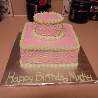 Mac's 1St Birthday Cake Conered in Buttercream. This cake was for my best friends daughter's first birthday. Pink and Green.
