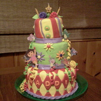 Magical Dora Three tiered Dora The Explorer themed birthday cake for 3 year old Maddie