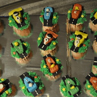 Race Car Cupcakes  Cars and track are made with MMF. grass is buttercream. made these for my sons 6th birthday for his school and the kids were very happy to...