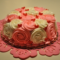 Valentines Day Rosette Cake   marble cake with chocolate cream cheese filling and cream cheese frosting