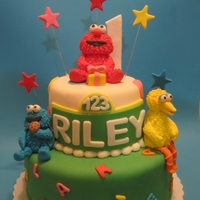 Sesame Street Bday Cake I made the decorations from fondant. Fun cake to make!!