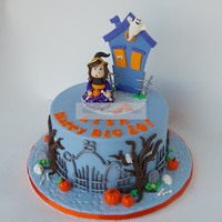 Halloween Birthday Cake Gum paste figurine and fondant decorations.