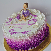 Rhythmic Gymnastic Cake This Cake for 15 y.o. Girl who loves Rhythmic Gymnastic. Fondant frills, Gumpaste Girl.