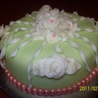 White Roses On Lime With Twirls I am trying to perfect roses so it's fitting that I decorate a cake in tons of my practice flowers.