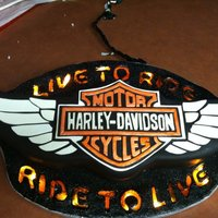 Harley Davidson Wings Cake This cake was made to look like a neon sign I found a photo of online.The board has a string of lights inside so the 'glass' (...