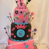 "Girly Rock Star Cake 4""/6""/8"" Cakes...two were confetti cake and one was chocolate...all were covered in hand made icing, ganache and fondant...."