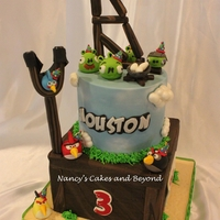 "Angry Birds Cake Had SO much fun making this 8"" square Madagascar vanilla bean cake with Oreo SMBC filling and covered in Guittard white chocolate..."