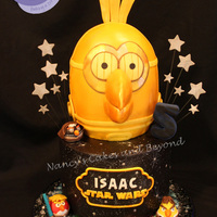 Isaacs Dream Cakestar Wars Angry Birds His Favorite Character Is C3Po So I Made Him Out Of Cake Bottom Tier Represented The Night Sky Isaac's Dream Cake...Star Wars Angry Birds! His favorite character is C3PO so I made him out of cake. Bottom tier represented the...