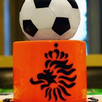 Netherlands Soccer Cake A soccer cake for some Netherlands soccer fans. The Holland flag is represented with the colored cake on the inside!