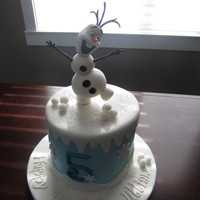 Olaf Cake This was a vanilla cake with vanilla buttercream, but the cake was dyed BLUE!