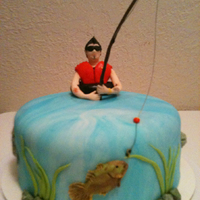 "Fishing Dude 8"" round double layer cake. Fondant Dazzling."