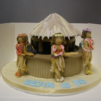 Hula Girls this is a beach hut cake with hula girls the party was beach themed !!all sugarpaste