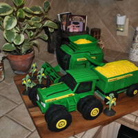 John Deere Tractor And Combine Harvesting This was a birthday cake for my son's 3rd birthday. He is in love with John Deere tractors, and I promised him I was going to make him...