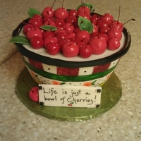 "Bowl Of Cherries Made and entered this for our local fair and won FIRST PLACE! Theme was ""cherry jammin"""