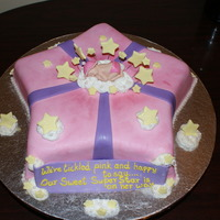 Pink Star Baby Shower Cake