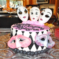 Masquerade Cake I made this cake for my sister! She collects clowns and masquerade masks. the masks were made of fondant/gumpaste and hand painted. She...