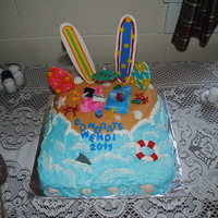 "Wendi's Graduation Cake My daughter wanted a ""beach"" themed cake for graduation. BC frosting with fondant/gumpaste decorations. All were hand made except..."